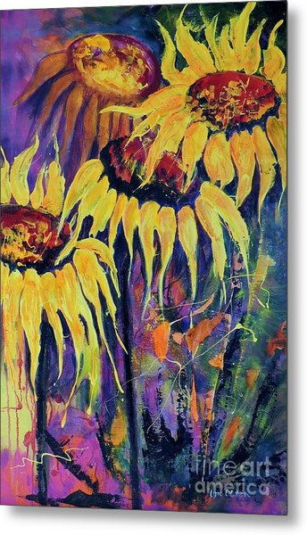 Sunflowers On Purple Metal Print