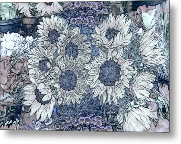 Sunflowers Paris Metal Print