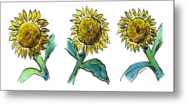 Sunflowers Trio Metal Print