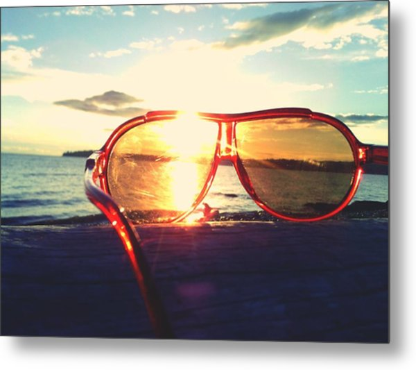 Sunglasses On Beach During Sunset Metal Print by Ashley Stone / Eyeem