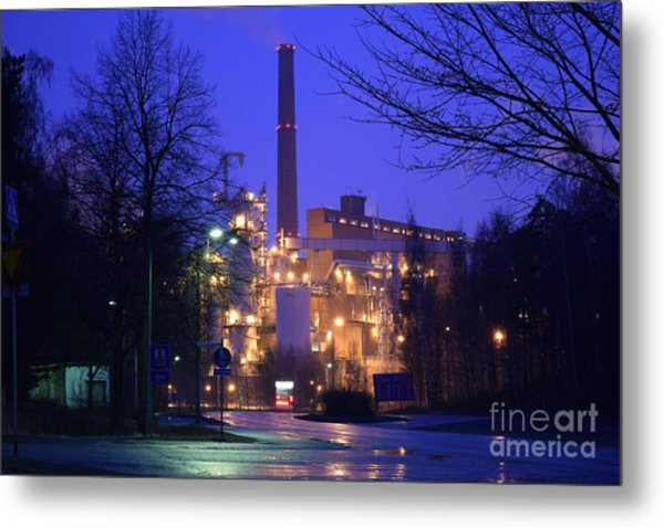 Sunila Pulp Mill By Rainy Night Metal Print