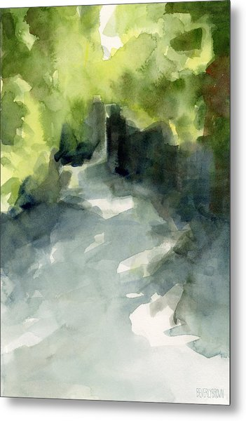 Sunlight And Foliage Conservatory Garden Central Park Watercolor Painting Metal Print