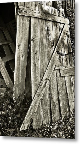 Sunlit Barn Door Metal Print by Greg Jackson