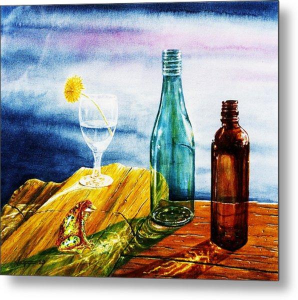 Sunlit Bottles Metal Print