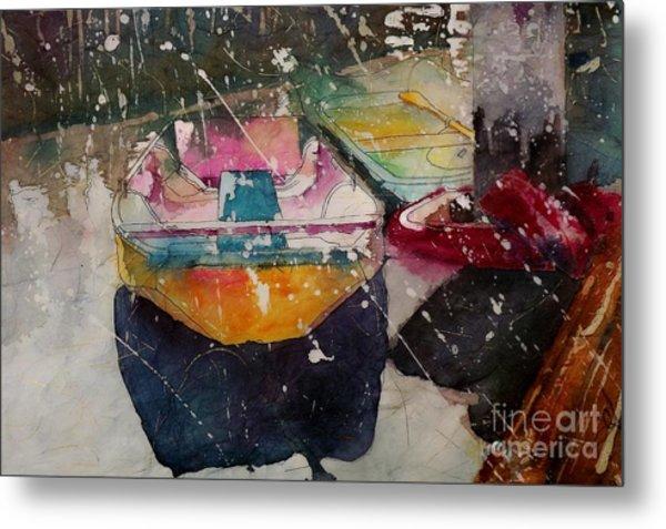 Sunlit Rowboat Metal Print