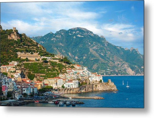 Sunny Amalfi City Metal Print