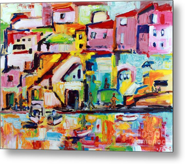 Sunny Procida Italy Oil Painting Metal Print