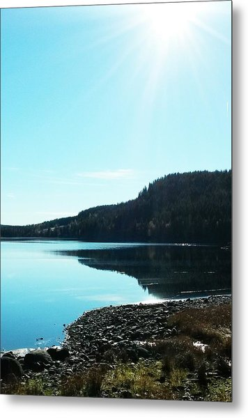 Sunny Sky By The Lake Metal Print