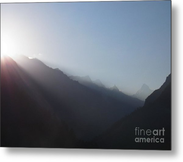 Sunrise Above Gangotri Metal Print