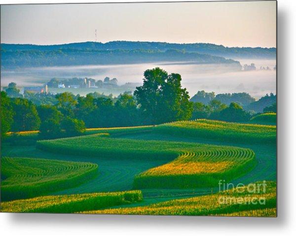 Sunrise And Morning Fog Metal Print