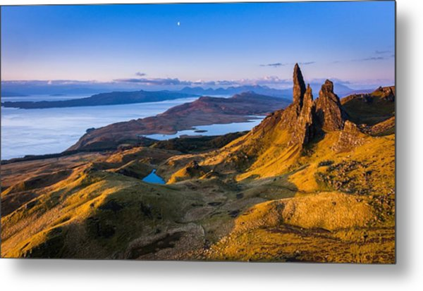 Sunrise And The Moon Over The Old Man Of Storr Metal Print