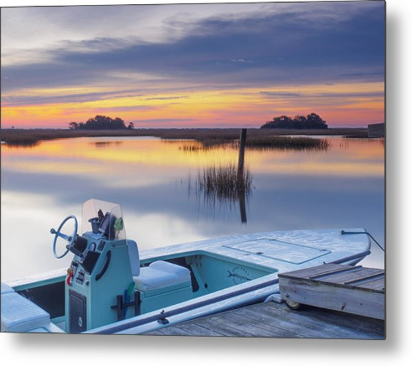 Sunrise Art Photograph - Hells Bay Marquesa Boat By Jo Ann Tomaselli Metal Print