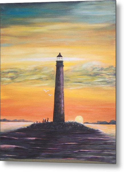 Sunrise At Sand Island Lighthouse Metal Print