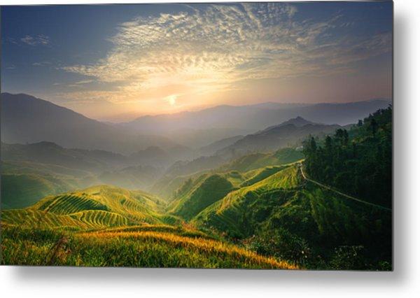 Sunrise At Terrace In Guangxi China 5 Metal Print