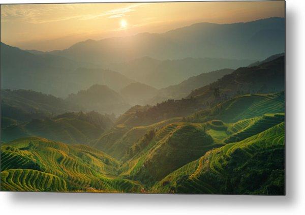 Sunrise At Terrace In Guangxi China 7 Metal Print