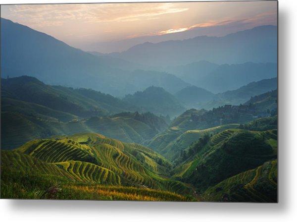 Sunrise At Terrace In Guangxi China 8 Metal Print