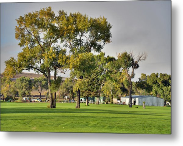 Sunrise At The Greenskeeper Garage Metal Print