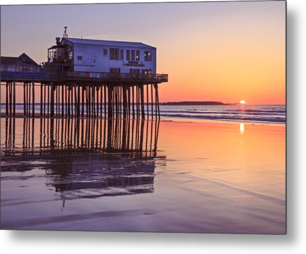 Sunrise At The Pier On Oob Metal Print by Shane Borelli