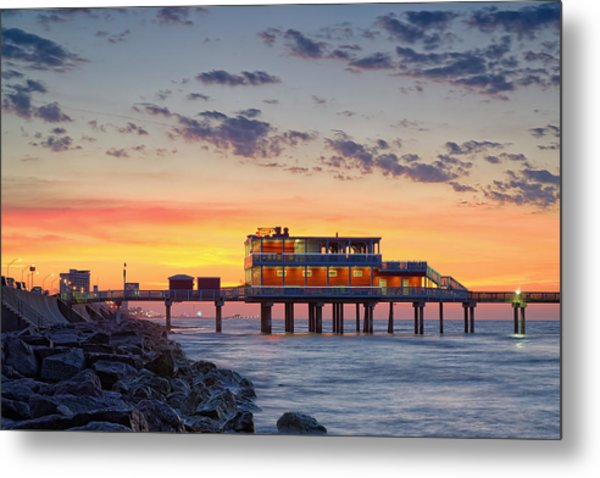 Sunrise At The Pier - Galveston Texas Gulf Coast Metal Print