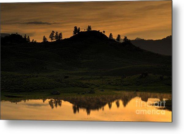 Sunrise Behind A Yellowstone Ridge Metal Print