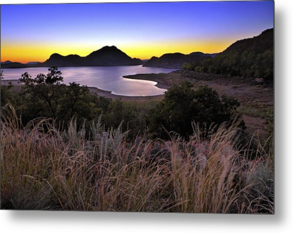 Sunrise Behind The Quartz Mountains - Oklahoma - Lake Altus Metal Print