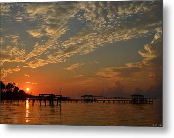 Sunrise Colors With Storms Building On Sound Metal Print