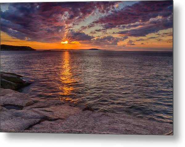 Metal Print featuring the photograph Sunrise Drama Acadia National Park by Jeff Sinon