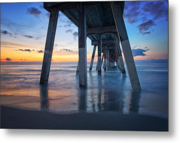 Sunrise From Under Johnnie Mercer's Pier Wrightsville Beach Nc Metal Print