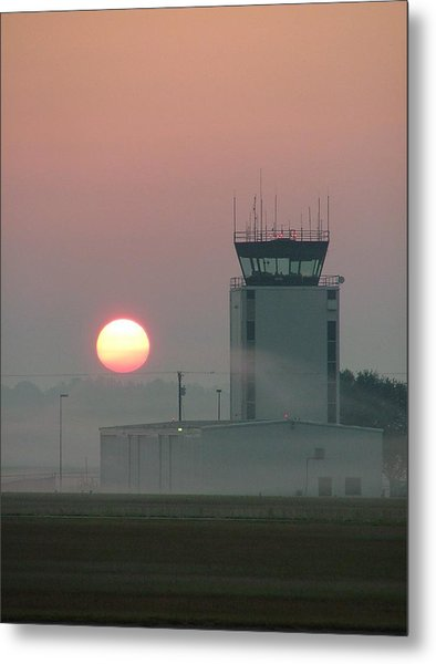 Sunrise In The Fog At East Texas Regional Airport Metal Print
