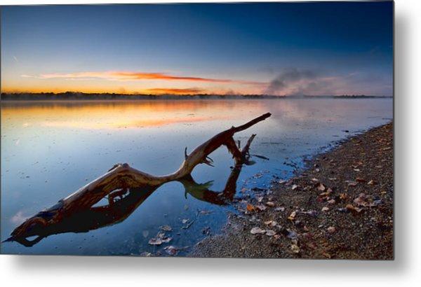 Sunrise Log Lake Metal Print by Berkehaus Photography