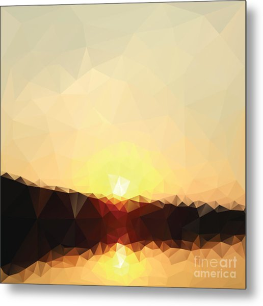 Sunrise Low Poly Effect Abstract Vector Metal Print