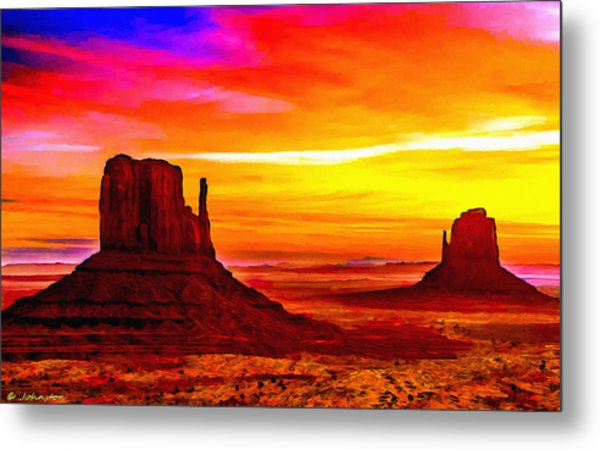 Sunrise Monument Valley Mittens Metal Print