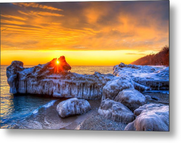 Sunrise North Of Chicago Lake Michigan 1-12-14 Metal Print by Michael  Bennett