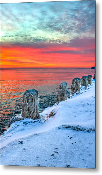 Sunrise North Of Chicago Lake Michigan 1-18-14 Metal Print by Michael  Bennett