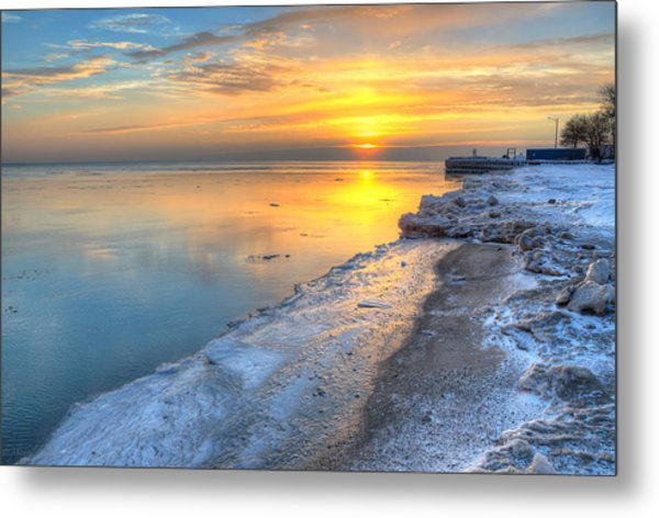 Sunrise North Of Chicago Lake Michigan 1-4-14 003 Metal Print by Michael  Bennett