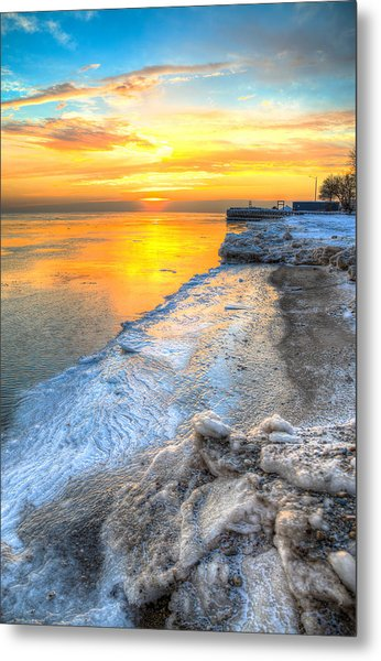 Sunrise North Of Chicago Lake Michigan 1-4-14   Metal Print by Michael  Bennett