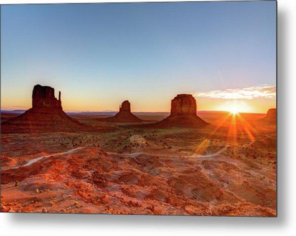 Sunrise On Monument Valley Metal Print