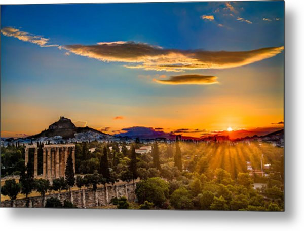 Sunrise On The Temple Of Olympian Zeus Metal Print