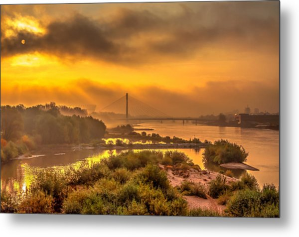 Sunrise Over Swiatokrzyski Bridge In Warsaw Metal Print