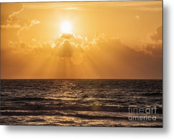 Sunrise Over The Caribbean Sea Metal Print