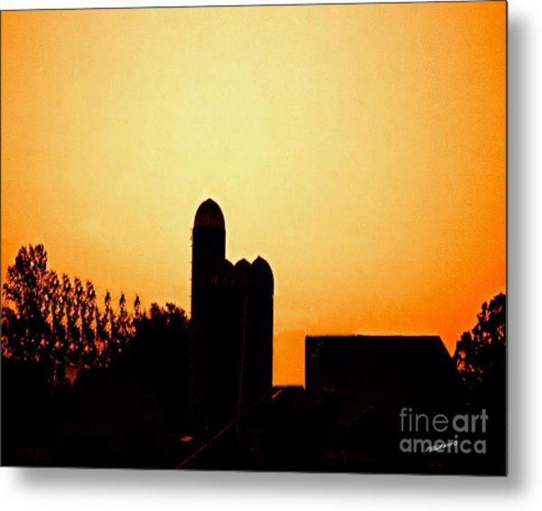 Sunrise Over The Farm Metal Print by Timothy Clinch
