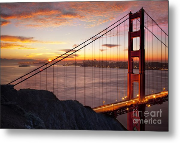 Metal Print featuring the photograph Sunrise Over The Golden Gate Bridge by Brian Jannsen