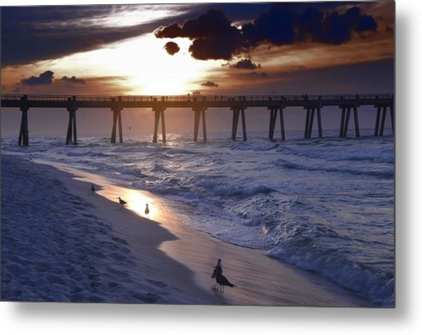 Sunrise Over The Pier Metal Print