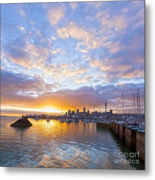 Sunrise Over Westhaven Marina Auckland New Zealand Metal Print