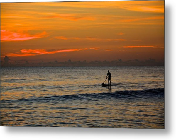 Sunrise Paddling Metal Print by Cloe Couturier