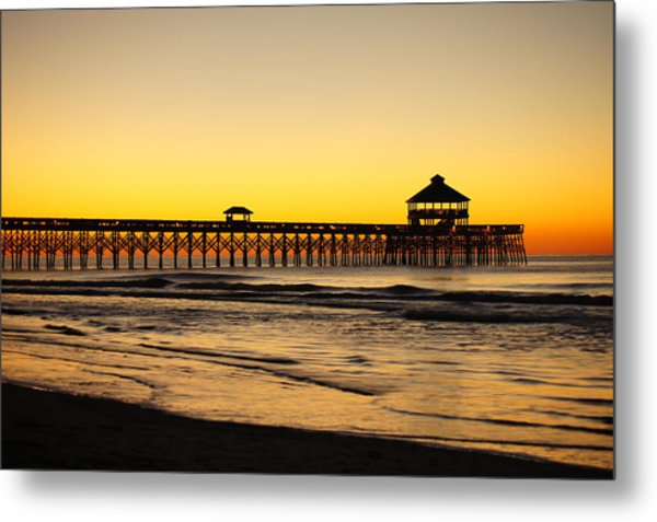 Sunrise Pier Folly Beach Sc Metal Print