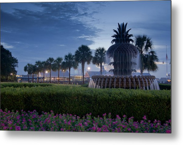 Sunrise Pineapple Fountain Metal Print