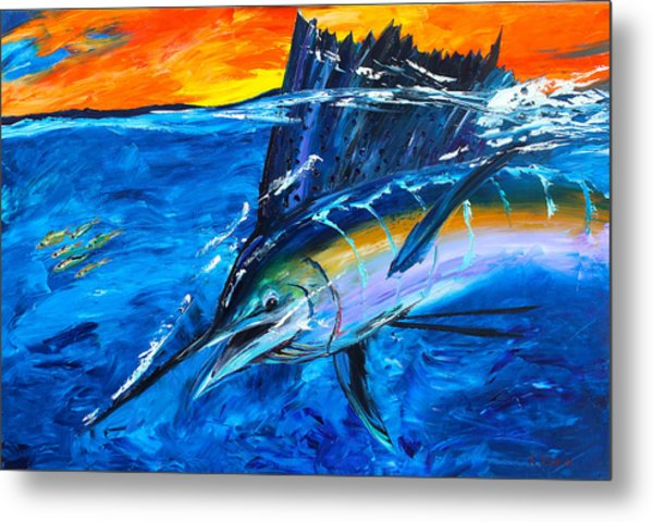 Metal Print featuring the painting Sunrise Sail by Kevin  Brown