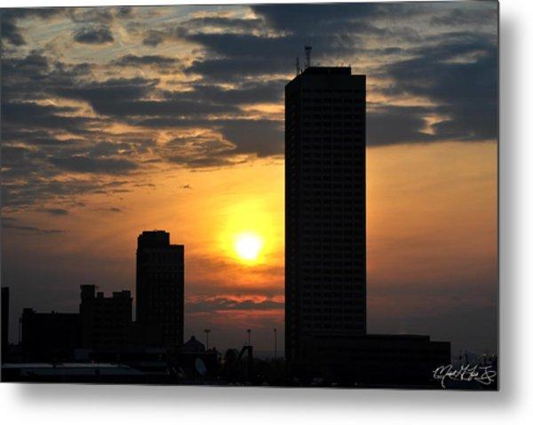 Sunrise Silhouette Buffalo Ny V2 Metal Print