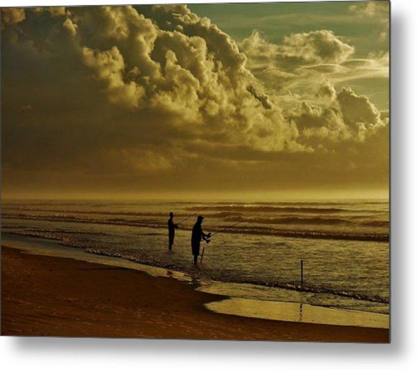 Sunrise Surf Fishing Metal Print